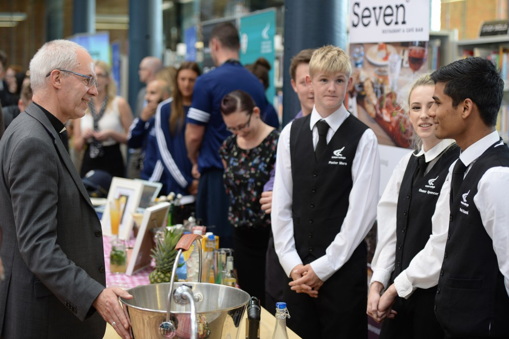 Archbishop of Canterbury meets Catering and Hospitality students at Derby College