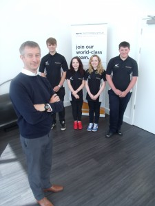 Graham Mulholland with four of the Derby College Engineering students